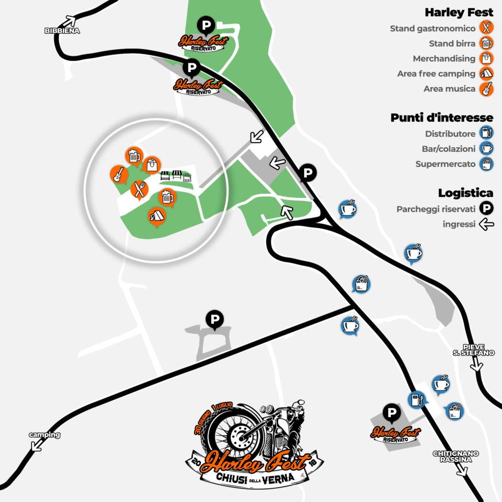 cartina chiusi della verna harley fest